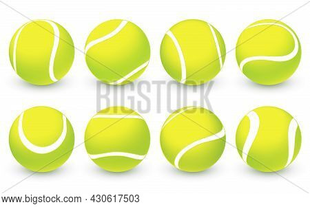 Set Of Vector Realistic Tennis Balls Isolated On White Background. Sport Competition Symbol. Green T