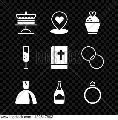 Set Cake On Plate, Location With Heart, Wedding Cake, Woman Dress, Champagne Bottle, Diamond Engagem