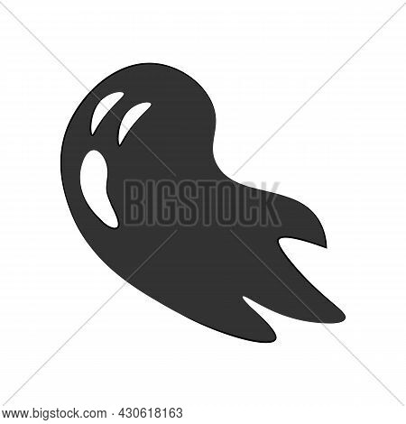 Ghost Isolated On White Background. Simple Flat Style Design Elements. Halloween Symbol. Creepy Horr