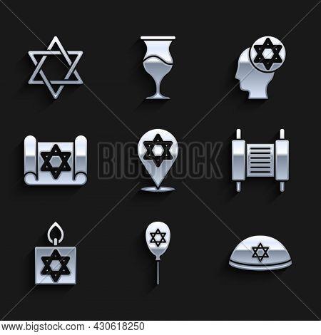 Set Star Of David, Balloon With Star David, Jewish Kippah, Torah Scroll, Burning Candle, Orthodox Je