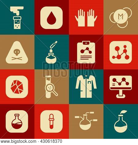 Set Plant Breeding, Chemical Formula, Medical Rubber Gloves, Test Tube And Flask, Triangle Warning T