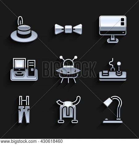 Set Ufo Flying Spaceship, Viking Horned Helmet, Table Lamp, Gamepad, Pants With Suspenders, Monitor