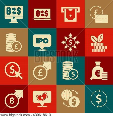 Set Financial Growth And Dollar, Coin Money With Euro Symbol, Dollar Plant, Atm, Ipo, Pound, Cryptoc