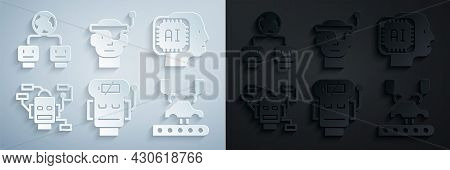 Set Robot Low Battery Charge, Humanoid Robot, Robotic Arm On Factory, Smart Glasses And Artificial I