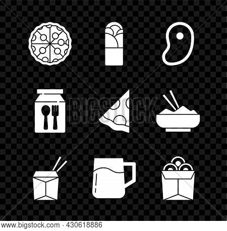 Set Pizza, Doner Kebab, Steak Meat, Asian Noodles And Chopsticks, Wooden Beer Mug, Noodles In Box, O