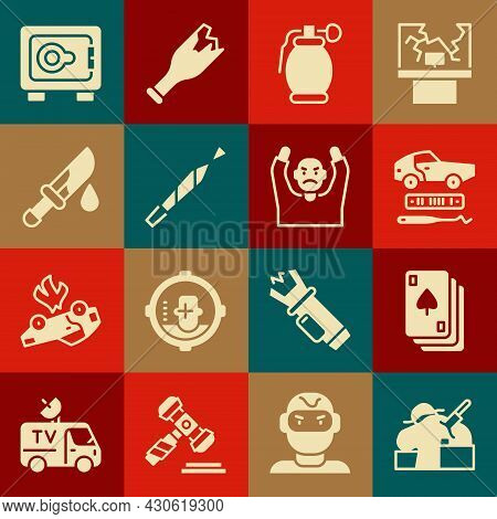 Set Murder, Playing Cards, Car Theft, Hand Grenade, Marijuana Joint, Bloody Knife, Safe And Thief Su