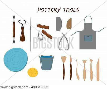 Pottery Tools Set. Vector Illustration. For Use In Packaging, Covers And Flyers, Prints, Craft Store