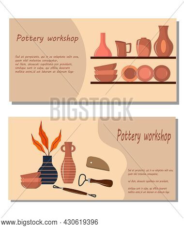 Flyer For A Pottery Workshop. Vector Illustration On A Colored Background With Text. For Use In Invi