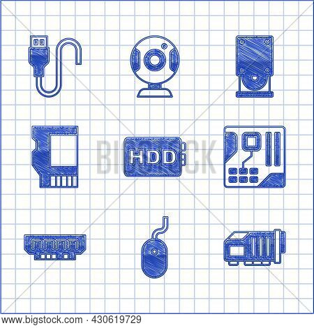 Set Hard Disk Drive Hdd, Computer Mouse, Video Graphic Card, Motherboard Digital Chip, Ram, Random A