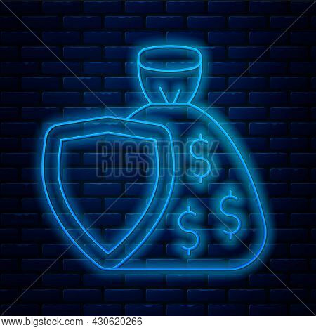 Glowing Neon Line Shield And Money Bag With Dollar Symbol Icon Isolated On Brick Wall Background. Se