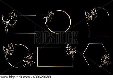 Golden Frame Flowers For Decorative Design. Golden Border Design. Spring Wedding Invitation. Vector