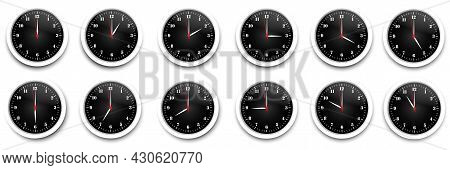 Clock Icon Set. Watch, Time Icon Vector. Realistic Wall Clock Set. Time Icon Set. Vector Illustratio