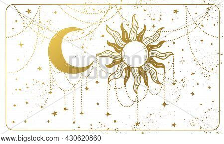 Golden Sun And Ornate Crescent Moon On A White Background. Magic Banner For Astrology, Tarot, Divina