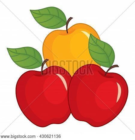 Red And Yellow Ripe Apples With Leaves. Vector Apple. Apples Vector Illustration