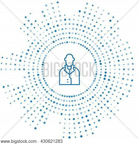 Blue Line Realtor Icon Isolated On White Background. Buying House. Abstract Circle Random Dots. Vect