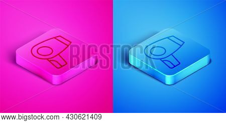 Isometric Line Hair Dryer Icon Isolated On Pink And Blue Background. Hairdryer Sign. Hair Drying Sym