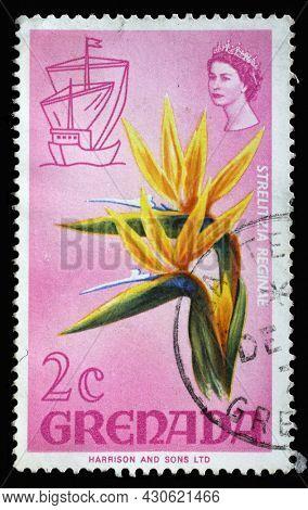 ZAGREB, CROATIA - SEPTEMBER 18, 2014: Stamp printed in Grenada shows Strelitzia reginae, Series Flora and Fauna Definitives 1968-1971, circa 1968