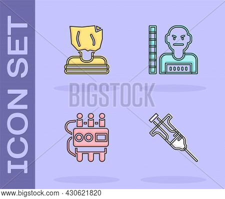 Set Syringe, Kidnaping, Dynamite And Timer Clock And Suspect Criminal Icon. Vector