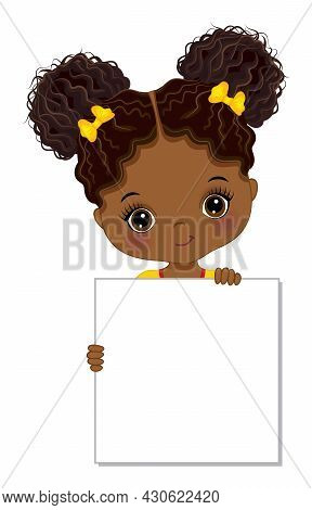 Cute African American Girl Holding Blank Frame To Customise Your Text. Little Afro Girl Has Two Buns