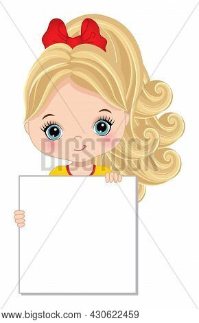 Cute Blond Girl With Blue Eyes Girl Holding Banner For Your Text To Customise. Cute Girl Holding Fra