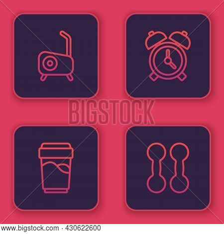 Set Line Stationary Bicycle, Glass With Water, Alarm Clock And Dumbbell. Blue Square Button. Vector