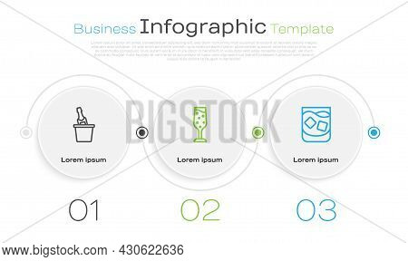 Set Line Champagne In An Ice Bucket, Glass Of Champagne And Whiskey. Business Infographic Template.
