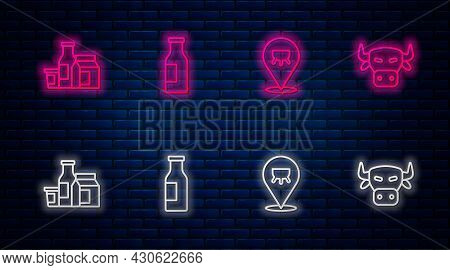 Set Line Bottle With Milk, Udder, Milk Product And Cow Head. Glowing Neon Icon On Brick Wall. Vector