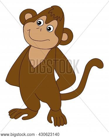 Cute Funny Happy Monkey Standing. Vector Monkey. Baby Monkey Vector Illustration