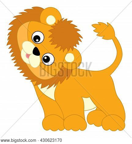 Cute Happy Baby Lion Standing. Vector Baby Lion. Lion Cub Vector Illustration