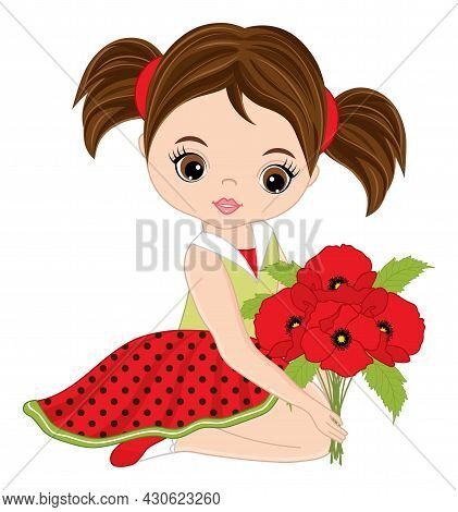 Beautiful Girl Sitting And Holding Bunch Of Poppies. Cute Girl Is Blond With Hazel Eyes And Ponytail