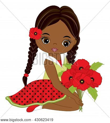 Beautiful African American Girl Wearing Polka Dot Dress, Holding Bunch Of Poppies. Cute Girl With Pi
