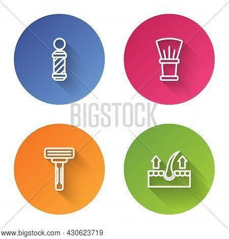 Set Line Classic Barber Shop Pole, Shaving Brush, Razor And Human Hair Follicle. Color Circle Button