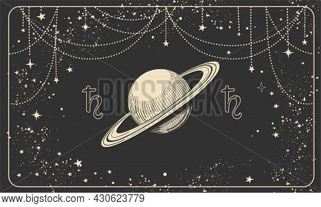 Astrological Horizontal Banner With Planet Saturn And Cosmic Black Background, Tarot Divination Illu