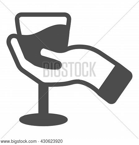 Hand With Glass Of Wine Solid Icon, Winery Concept, Wineglass In Hand Vector Sign On White Backgroun