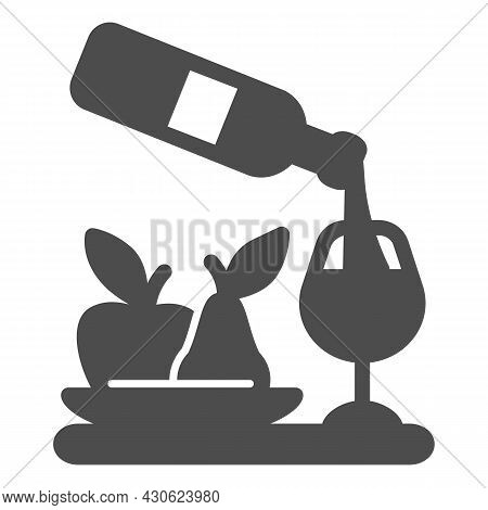 Wine Pouring, Bottle, Wineglass, Bowl Of Fruits Solid Icon, Catering Concept, Serving Vector Sign On