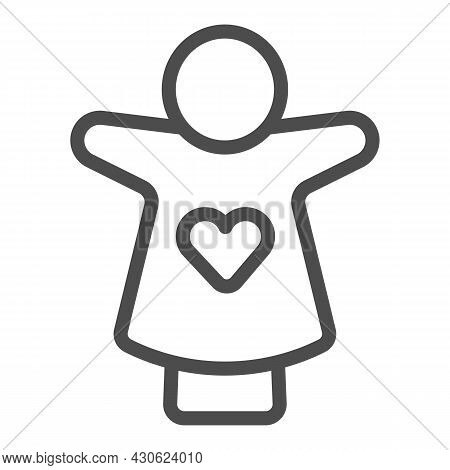 Puppet Doll With Heart On The Hand Line Icon, Theater Concept, Puppet Theatre Vector Sign On White B