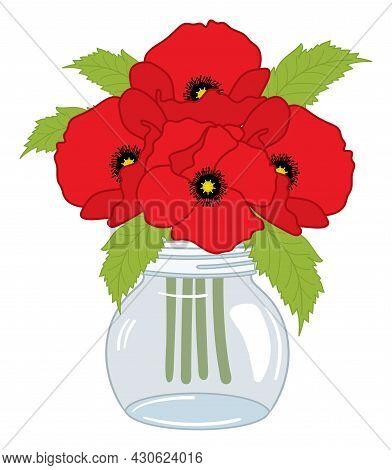 Vector Poppy Bouquet In Mason Glass Jar On White Background. Vector Poppy. Poppy Bunch Vector Illust