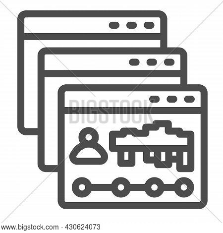 Dialog Windows With Site Visits Statistic Line Icon, Web Development Concept, Webpage Vector Sign On