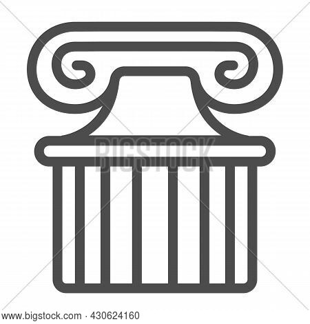 Ancient Greek Column Line Icon, Theater Concept, Part Of Antique Greek Pillar Vector Sign On White B