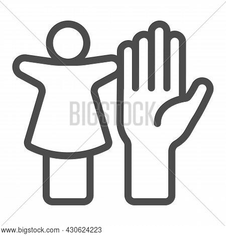 Puppet Doll And The Palm Of The Hand Line Icon, Theater Concept, Puppet Theatre Vector Sign On White