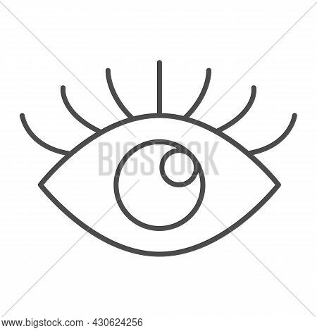 Open Eye With Eyelashes, Look Thin Line Icon, Human Body Concept, Sight Vector Sign On White Backgro