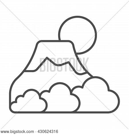 Mount Fuji With Fog, Sun And Snow, Volcano Thin Line Icon, Asian Culture Concept, Mountain Vector Si