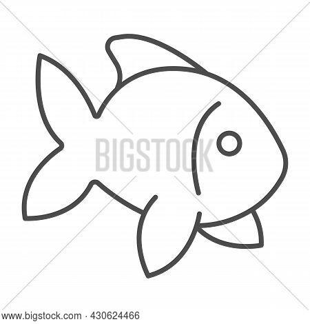 Fish, Goldfish, Aquarium Tropical Fish Thin Line Icon, Sea Life Concept, Carp Vector Sign On White B