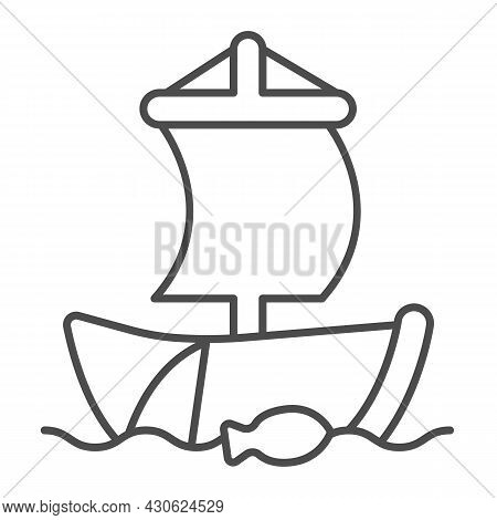 Old Sailboat In The Sea With Fishing Net Thin Line Icon, Asian Culture Concept, Boat Vector Sign On