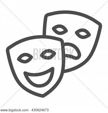 Comedy And Tragedy Masks, Theatrical Masks Line Icon, Theater Concept, Happy Sad Face Vector Sign On