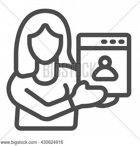 Woman Web Designer With Presentation Of Site Project Line Icon, Ui Concept, Developer Vector Sign On