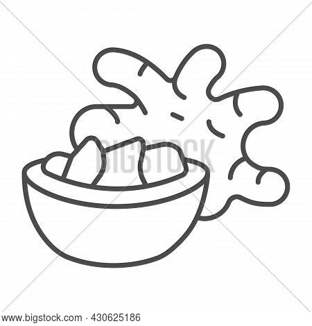 Jerusalem Artichoke Tuber And Ginger Bowl Thin Line Icon, Asian Food Concept, Girasol Vector Sign On