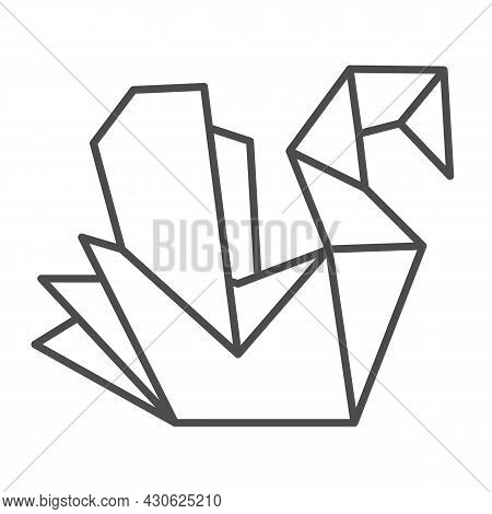 Paper Swan, Origami Thin Line Icon, Asian Culture Concept, Folded Origami Bird Vector Sign On White