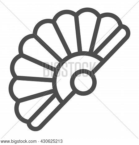 Classic Japanese Folding Fan Line Icon, Theater Concept, Hand Fan Vector Sign On White Background, O