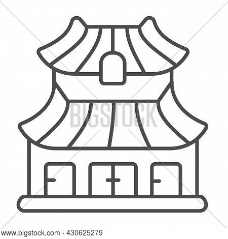 Classic Japanese Dwelling House Building Thin Line Icon, Asian Culture Concept, Japan Home Vector Si